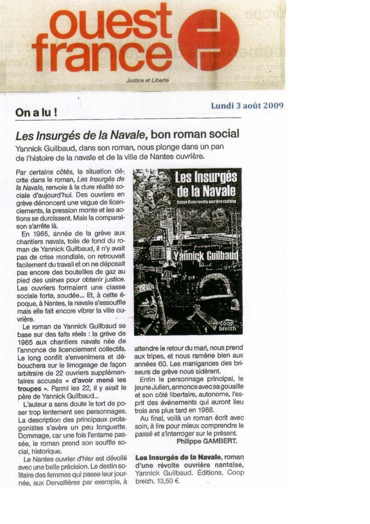 Ouest France 3 août 2009 Les Insurges.jpg